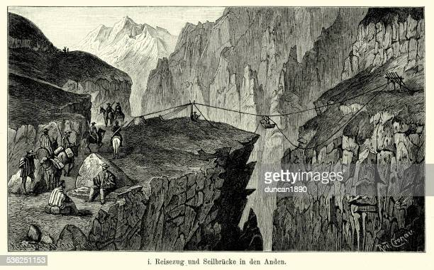 19th Century Andes Mountains Rope Bridge