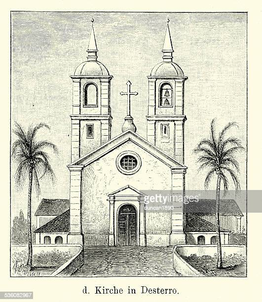 19th century brazil - church in desterro - spire stock illustrations, clip art, cartoons, & icons