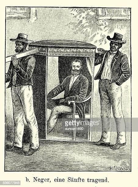 19th century brazil - sedan chair and african servants - sedan stock illustrations, clip art, cartoons, & icons