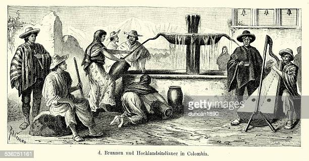 19th century colombia - fountain and highland indians - fountain stock illustrations, clip art, cartoons, & icons
