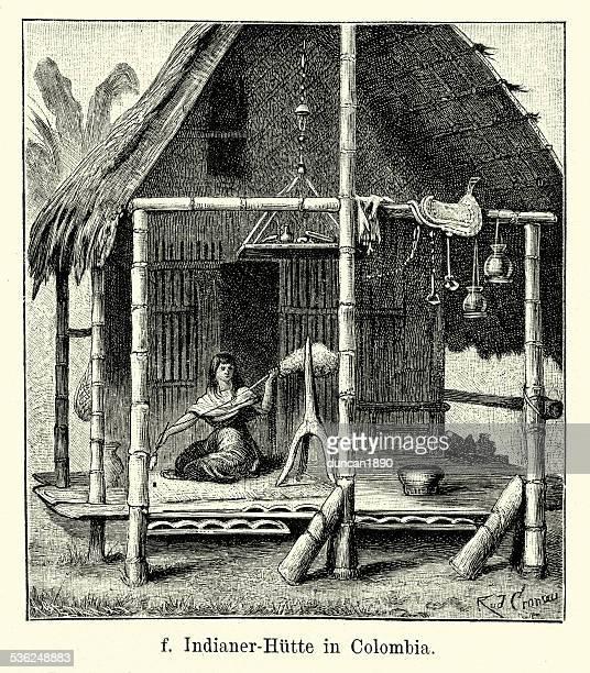ilustraciones, imágenes clip art, dibujos animados e iconos de stock de 19 th century colombia-nativos indian hut - colombia