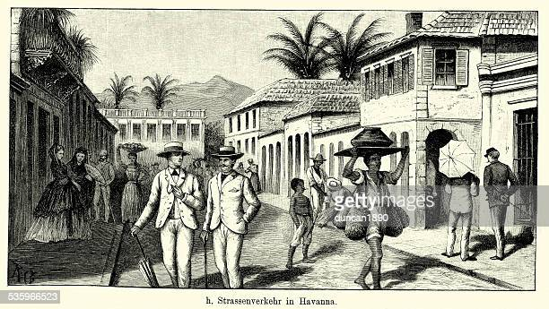 19th century cuba - street scene in havana - cuban culture stock illustrations, clip art, cartoons, & icons