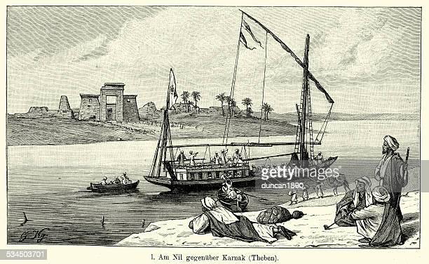 19th century egypt - on the nile opposite karnak - nile river stock illustrations, clip art, cartoons, & icons
