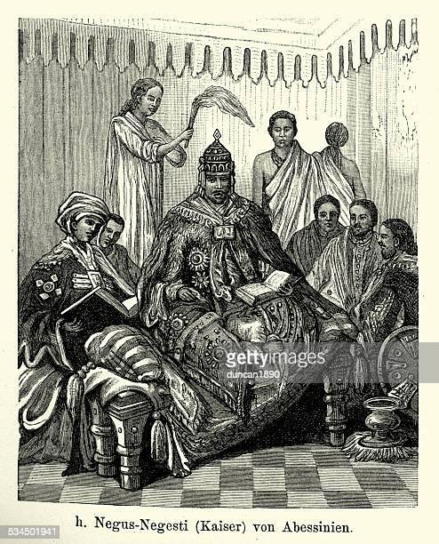 19th century emperor of abyssinia - ethiopia stock illustrations, clip art, cartoons, & icons