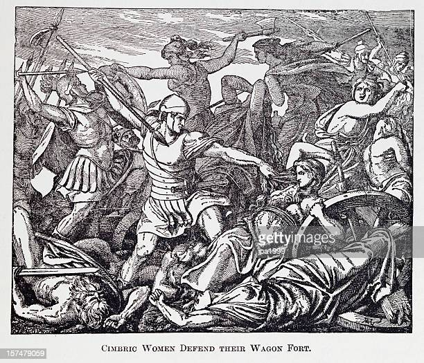 19th century engraving of cimbric women fighting roman soldiers - war stock illustrations