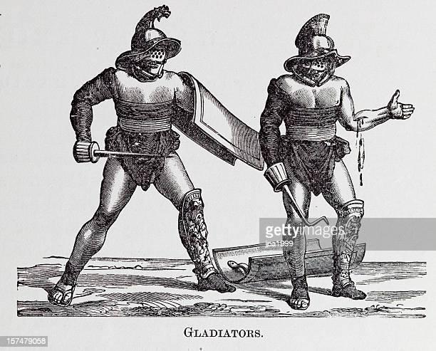19th century engraving of roman gladiators - gladiator stock illustrations, clip art, cartoons, & icons
