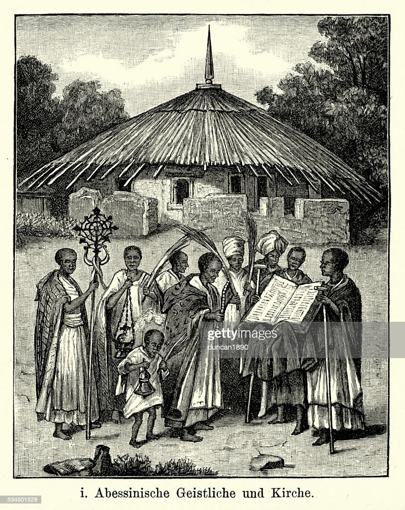 19th Century Ethiopia - Priest and Church : stock illustration