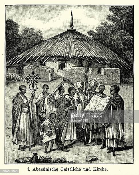 19th century ethiopia - priest and church - ethiopia stock illustrations, clip art, cartoons, & icons