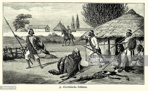19th century ethiopia - soldiers - ethiopia stock illustrations, clip art, cartoons, & icons