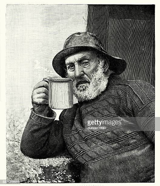 19th century fisherman - sweater stock illustrations, clip art, cartoons, & icons