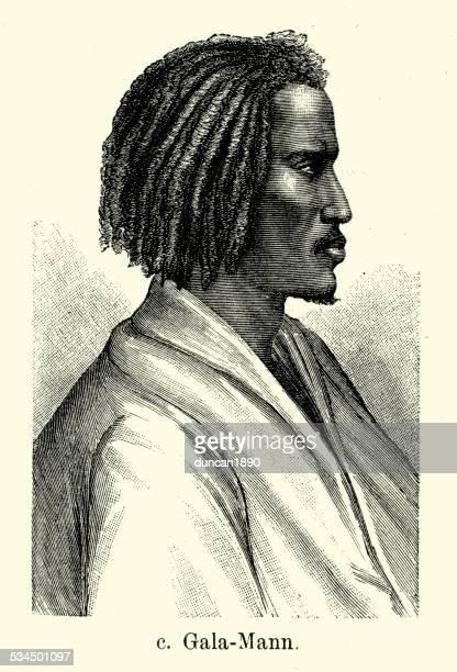 19th century galla man - ethiopia stock illustrations, clip art, cartoons, & icons