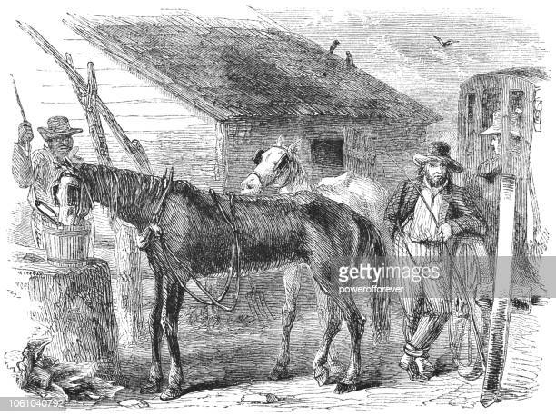 19th Century Gas Station - Stagecoach Driver Feeding Horses while Passenger Waits