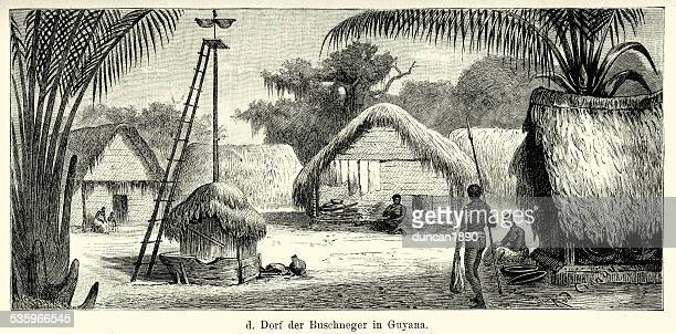 19th century guyana - village of the maroon people - maroon stock illustrations, clip art, cartoons, & icons