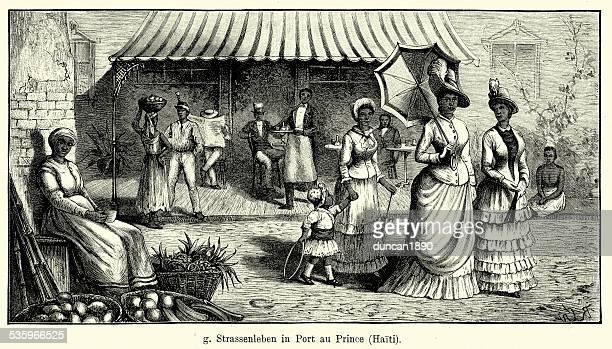 19th century haiti - port-au-prince - nanny stock illustrations