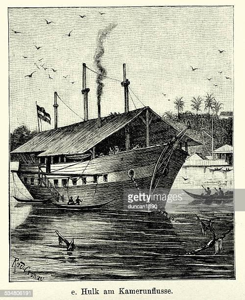 19th century hulk on cameroon rivers - cameroon stock illustrations, clip art, cartoons, & icons