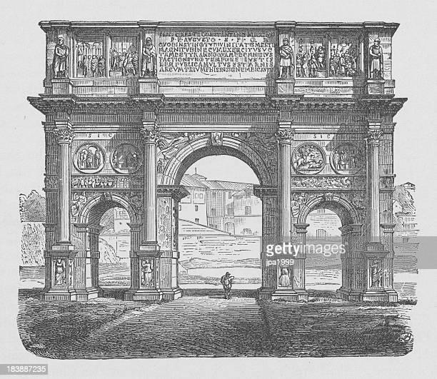 Ilustração do século 19 de Arco de Constantino, Roma Itália.