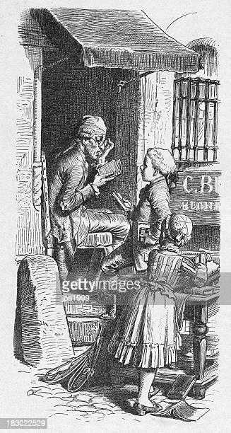 ilustrações, clipart, desenhos animados e ícones de século 19 ilustração de crianças a compra de livros - livraria