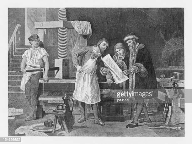 19th century illustration of Gutenberg and his press