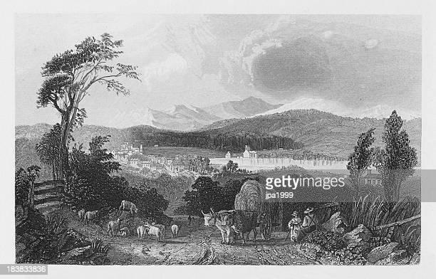 19th century illustration of harvest scene in new hampshire - 17th century stock illustrations, clip art, cartoons, & icons