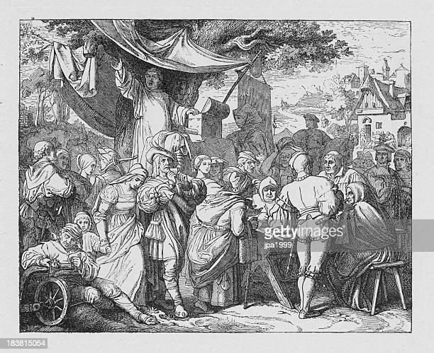 ilustraciones, imágenes clip art, dibujos animados e iconos de stock de 19 th century ilustración de johann tetzel es ideal de venta - los siete pecados capitales