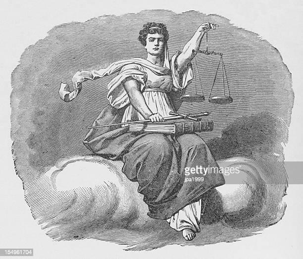 19th century illustration of lady justice