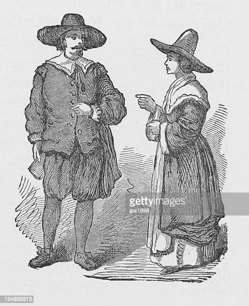 19th century illustration of pilgrims - pilgrim stock illustrations, clip art, cartoons, & icons