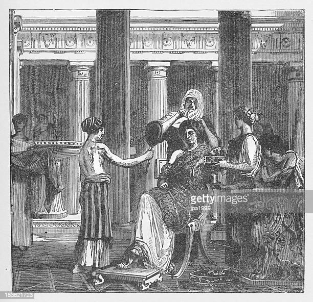 19th century illustration of roman lady at bathroom - health spa stock illustrations, clip art, cartoons, & icons