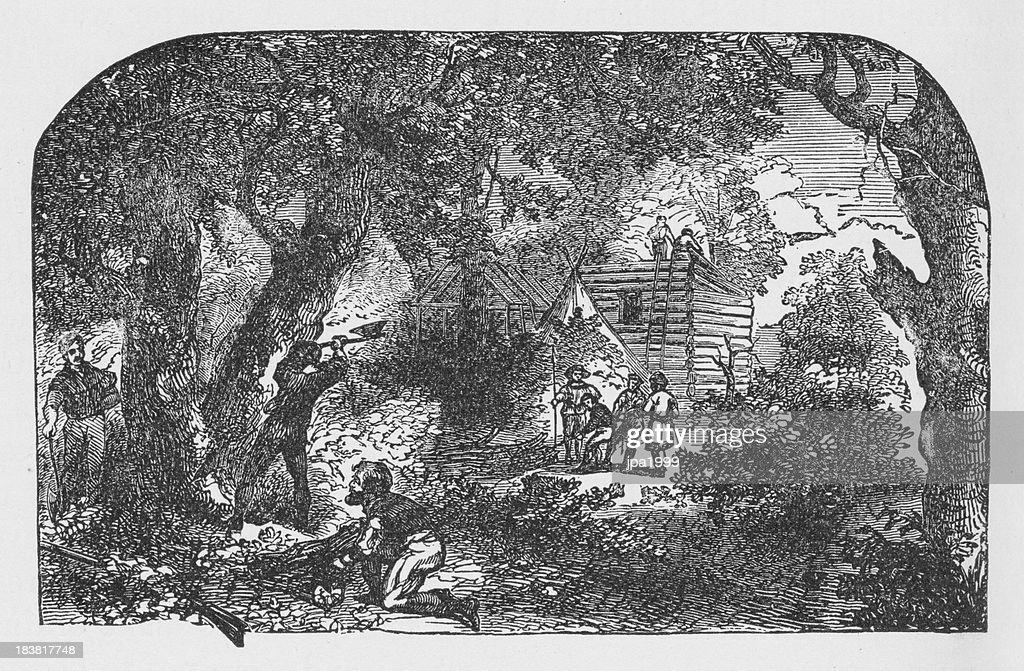 19th century illustration of settlers building James town : stock illustration