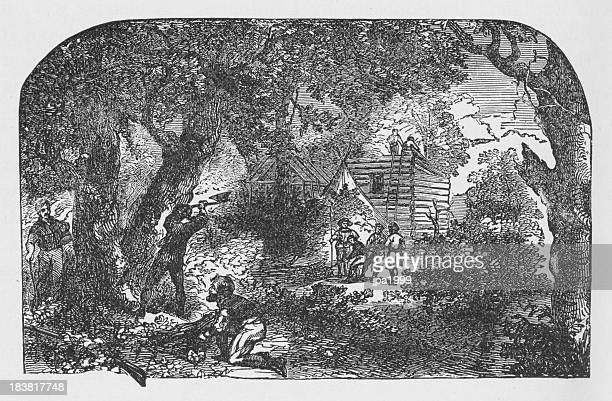 19th century illustration of settlers building james town - human settlement stock illustrations, clip art, cartoons, & icons
