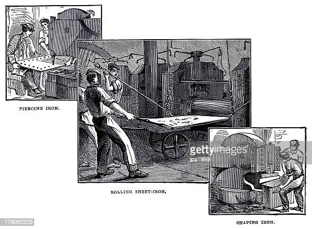 19th century illustration of working with iron sheets - sheet metal stock illustrations, clip art, cartoons, & icons