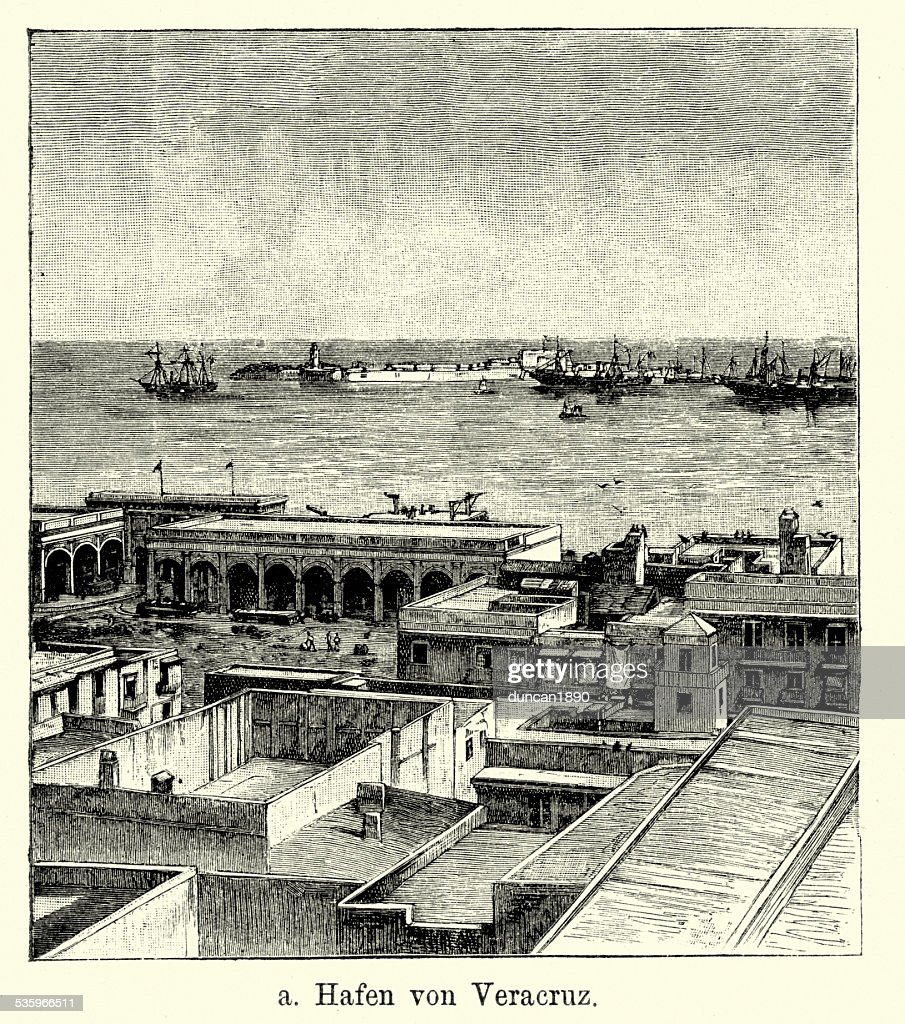 19th Century Mexico - Port of Veracruz : Stock Illustration