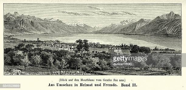 19th century mont blanc - mont blanc stock illustrations, clip art, cartoons, & icons