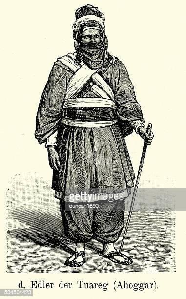 19th century noble of the tuareg - tuareg tribe stock illustrations