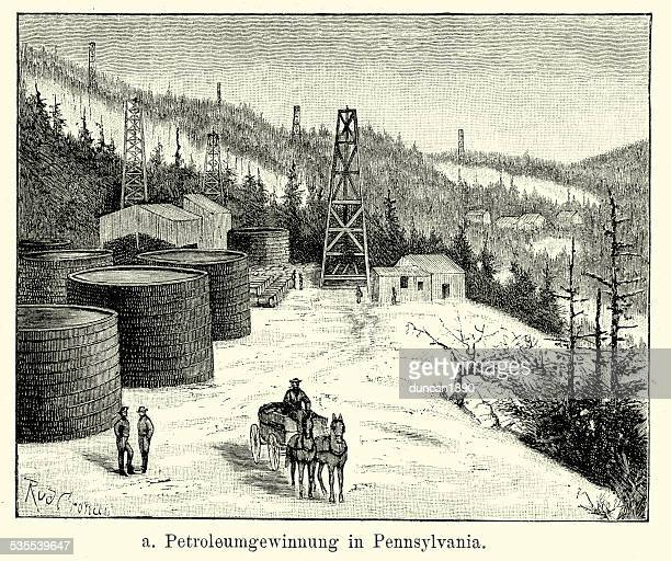 19th century north america -  oil wells in pennsylvania - oil field stock illustrations, clip art, cartoons, & icons