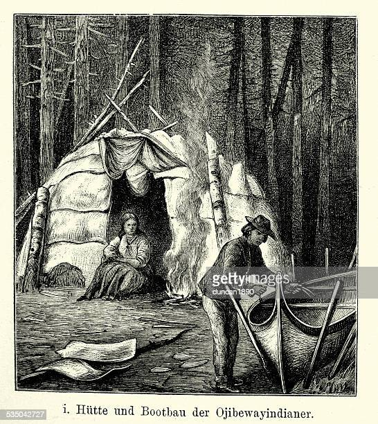 19th Century North America - Ojibwa Indian Hut and Boat