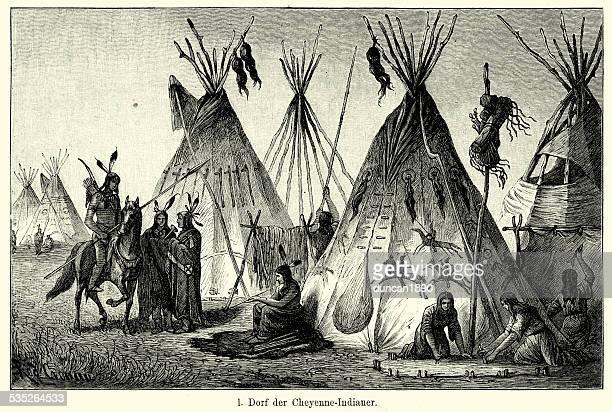 19th Century North America -  Village of Cheyenne Indians