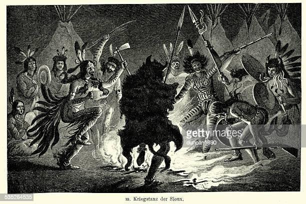 ilustraciones, imágenes clip art, dibujos animados e iconos de stock de 19 th century north america-danza de guerra de sioux - indios americanos sioux