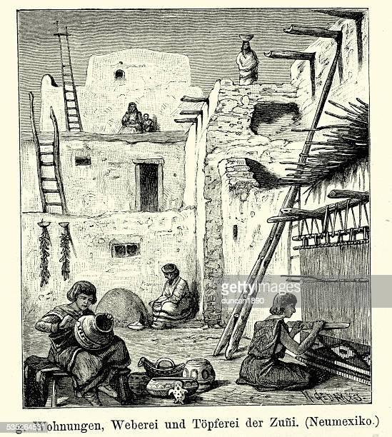 19th century north america -  zuni native american - pottery stock illustrations, clip art, cartoons, & icons