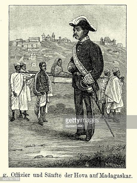 19th century officer and gentlewoman from madagascar - sedan stock illustrations, clip art, cartoons, & icons