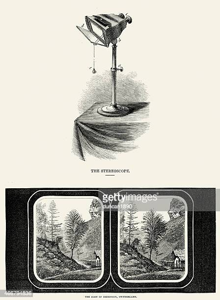 19th Century Stereoscope and Slide