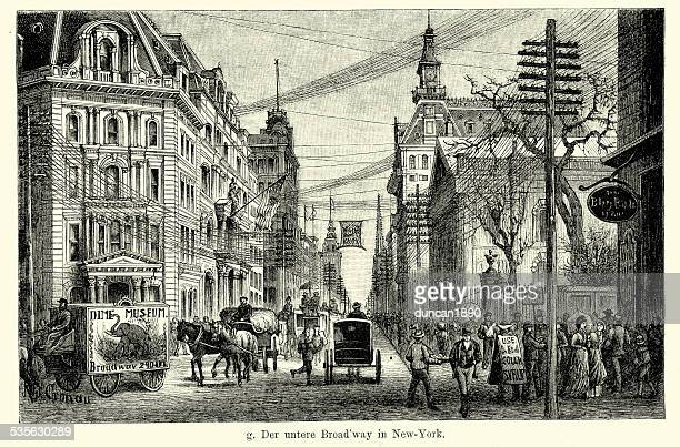 19th century usa - lower broadway in new york - 19th century stock illustrations