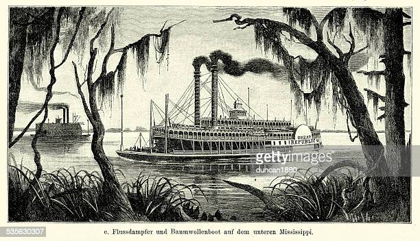 19th century usa - riverboat on the lower mississippi - mississippi stock illustrations