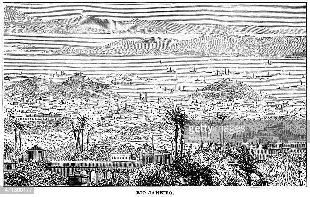 ilustrações, clipart, desenhos animados e ícones de século 19, vista para o rio de janeiro - história