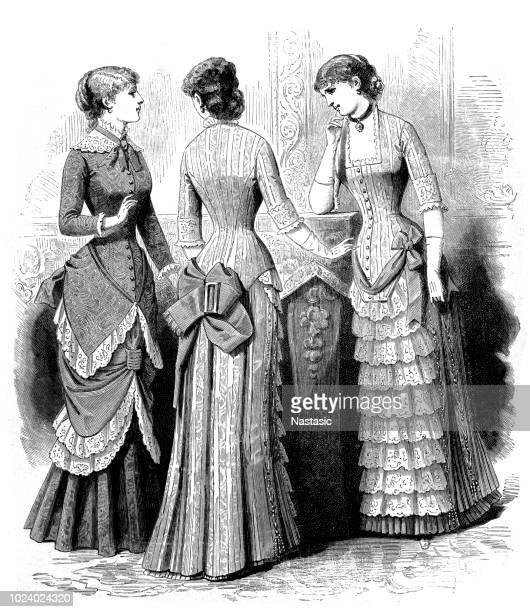 ilustrações de stock, clip art, desenhos animados e ícones de 19th century woman fashion - mulheres jovens