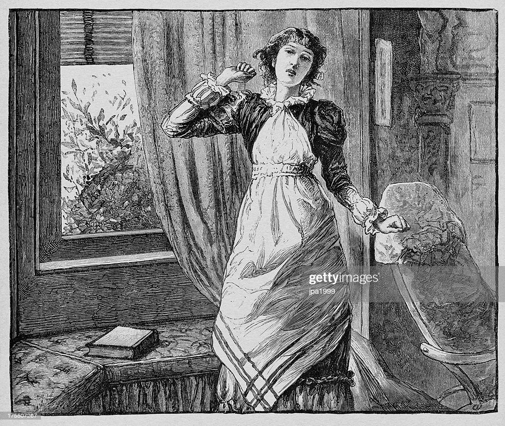 19th century woman : stock illustration