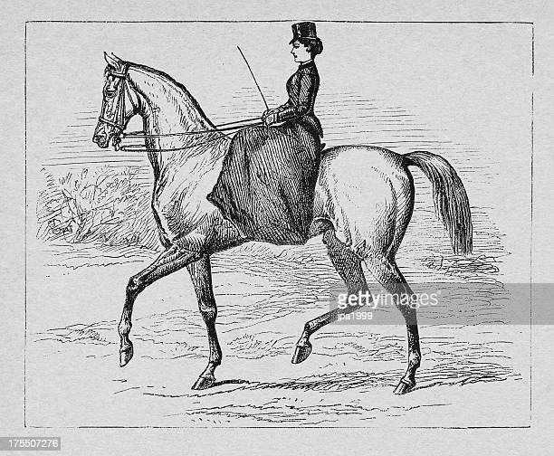 19th century woman riding with a horse - horseback riding stock illustrations, clip art, cartoons, & icons