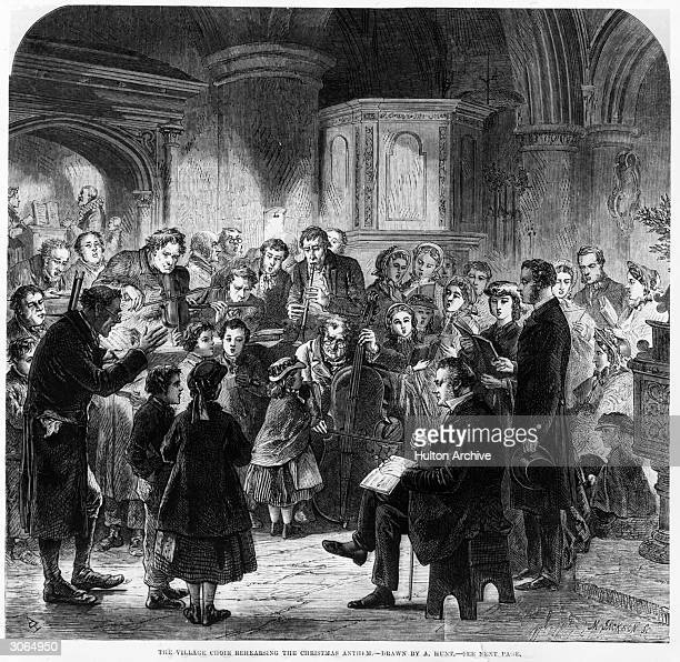 A village choir rehearsing the Christmas Anthem from a drawing by A Hunt Original Publication Illustrated London News Christmas pub 1863