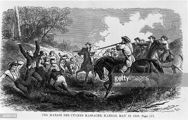 Group of freesoiler settlers being executed by a pro-slavery group from Missouri at Marais Des Cygnes in Kansas. Five freesoilers were killed in the...