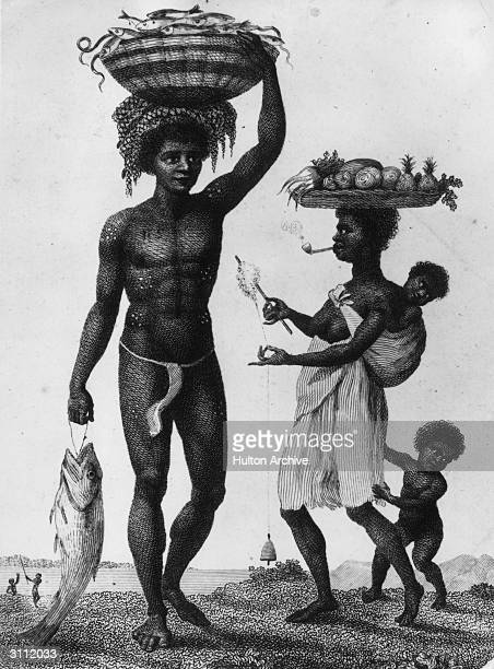 Family of slaves from Luanda. The man brings back a full basket of fish while the woman takes care of the children, the spinning and the farming. An...