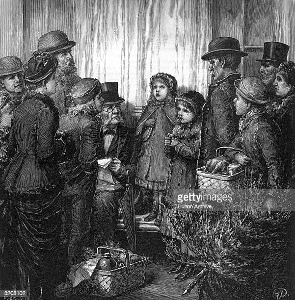 Illustration entitled 'Carol, Christians, Carol,' showing men and women gathered to watch a young girl sing Christmas carols, drawn by Frederic...